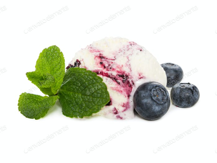 Ball of blueberry ice cream with fresh blueberries and mint