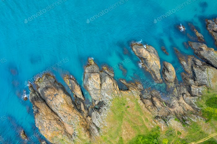 Aerial view over beautiful sea cliffs