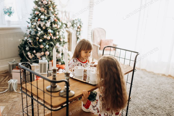 Two charming little girls sit at the table and are going to drink cocoa with Marshmallows and