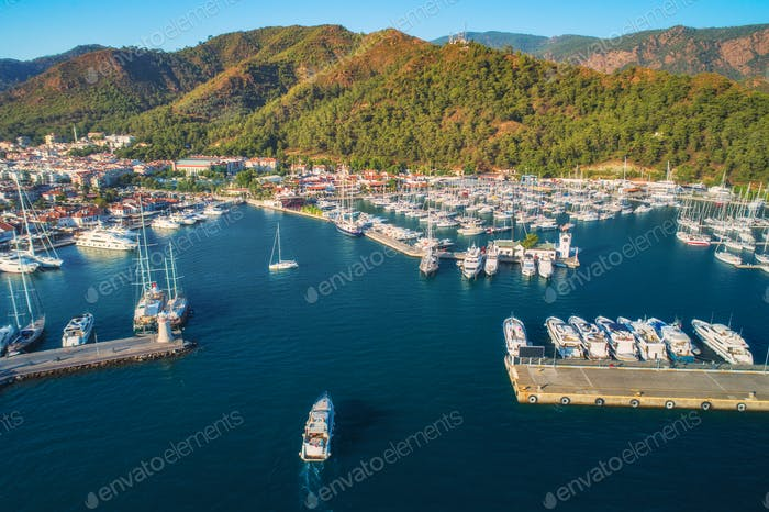Aerial view of boats and yachts at sunset in Turkey