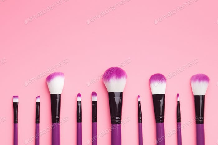 Set of makeup brushes .