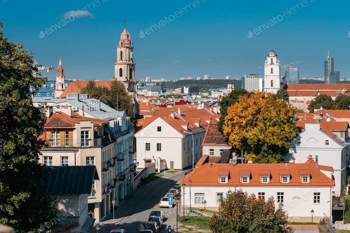Vilnius, Lithuania. Top View Of Catholic Church Of St. Johns Wit