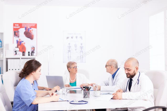 Medical team interacting