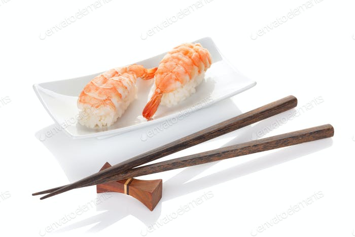 Shrimp sushi and chopsticks