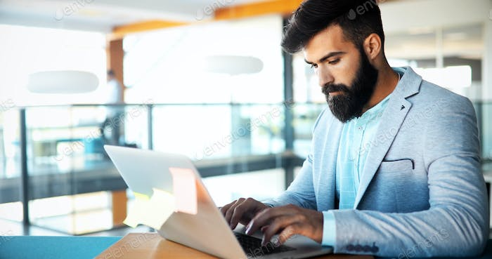 Professional businessman working on laptop in office