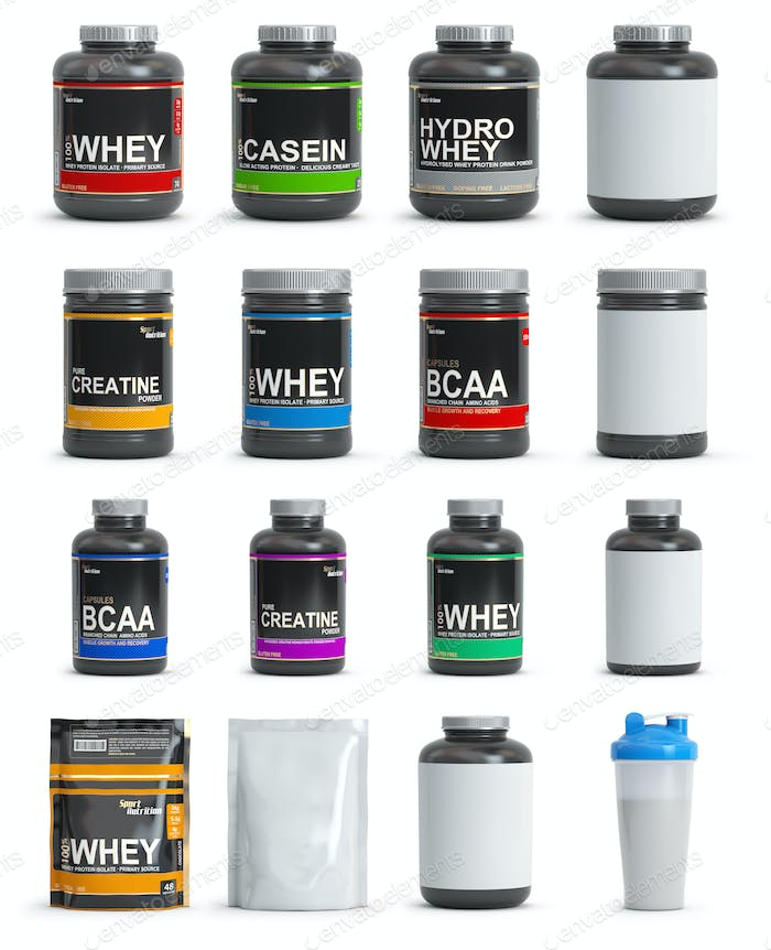 Sport nutrition containers. Set of templates of jars and packs o