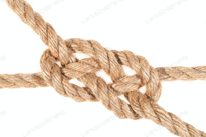 carrick bend knot joining two ropes close up