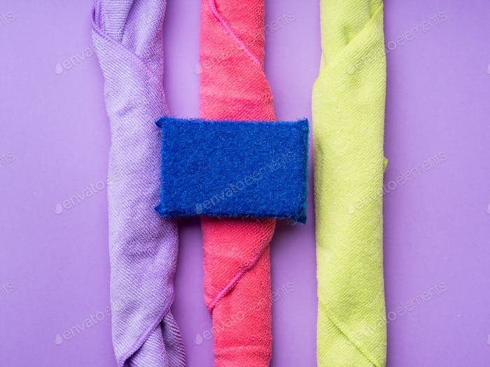 Abstract background with cleaning cloths, sponges