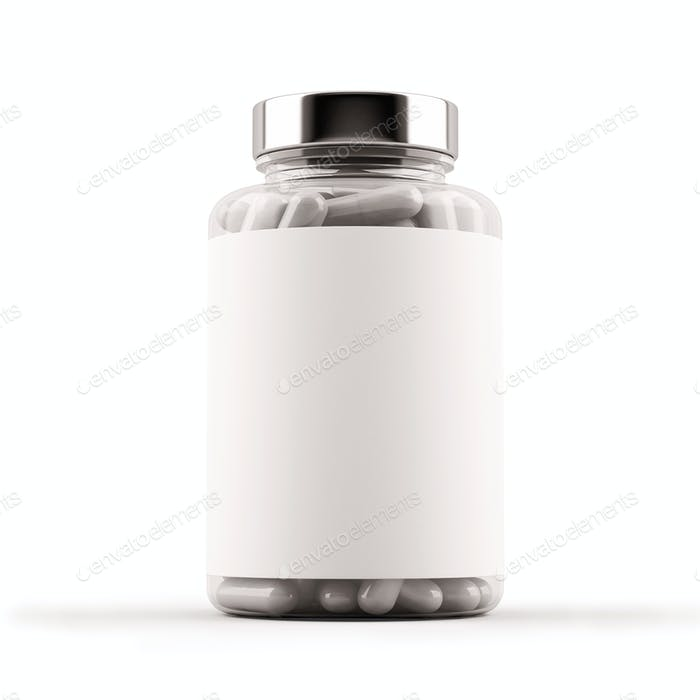 Medicine glass bottle full of pills. 3D Illustration.