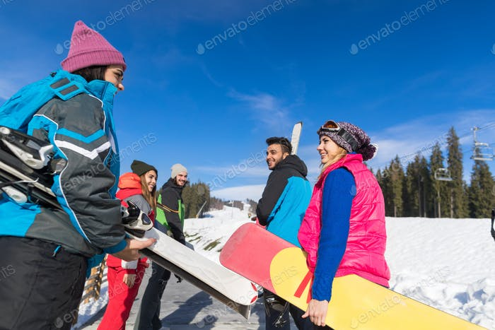 Group Of People Ski And Snowboard Resort Winter Snow Mountain Happy Smiling Friends Talking Holiday