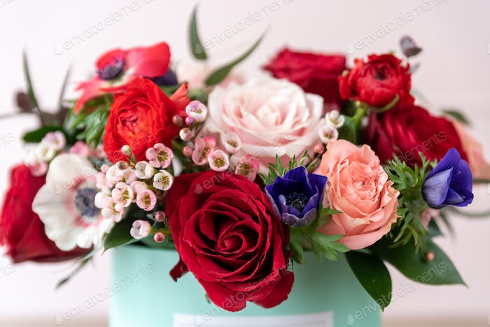 Close up of beautiful bouquet of flowers in a box