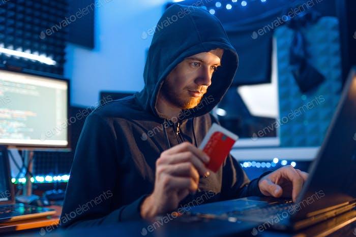 Hacker shows bank credit card, finance hacking