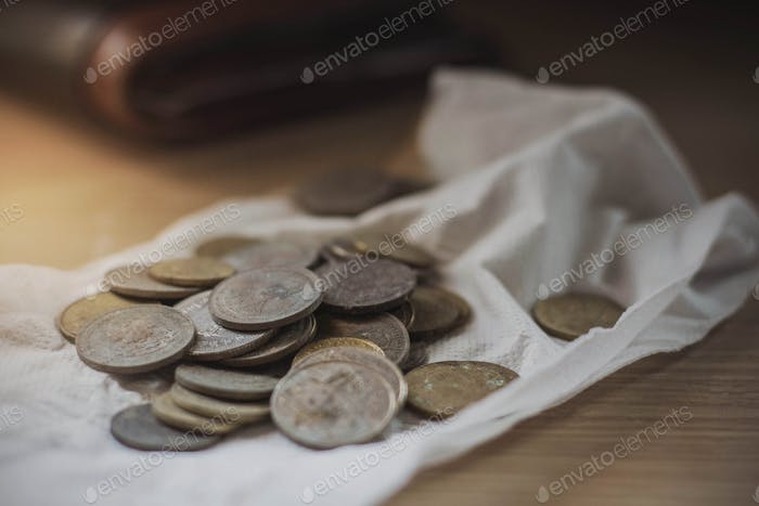 Coins on a paper