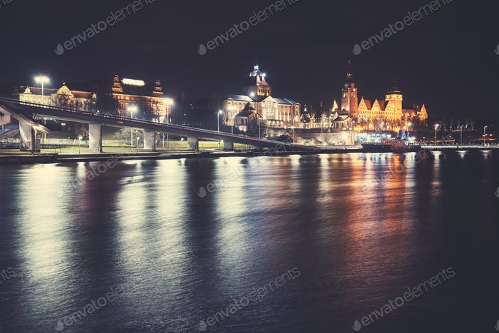 Szczecin (Stettin) City at night, Poland.