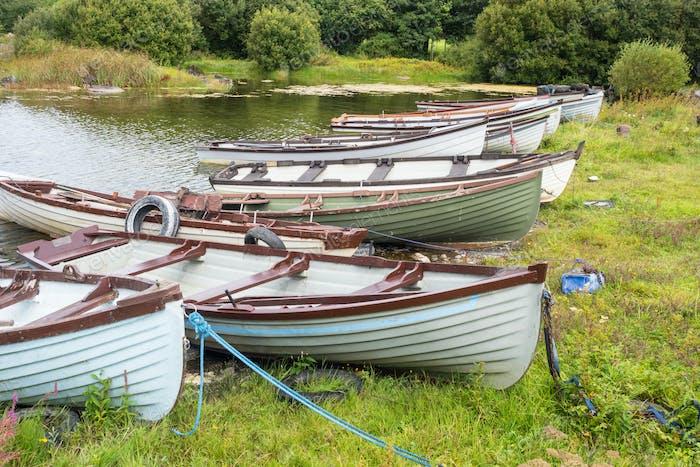 Rowing Boats Near Kilbeg Pier in Ireland