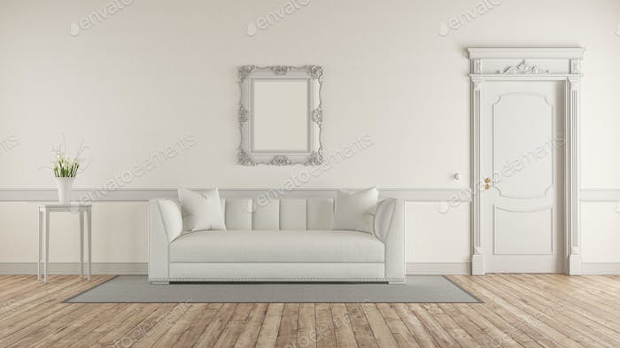 White living room in classic style