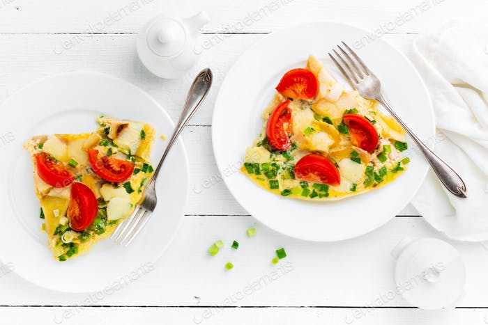 Omelet. Eggs fried