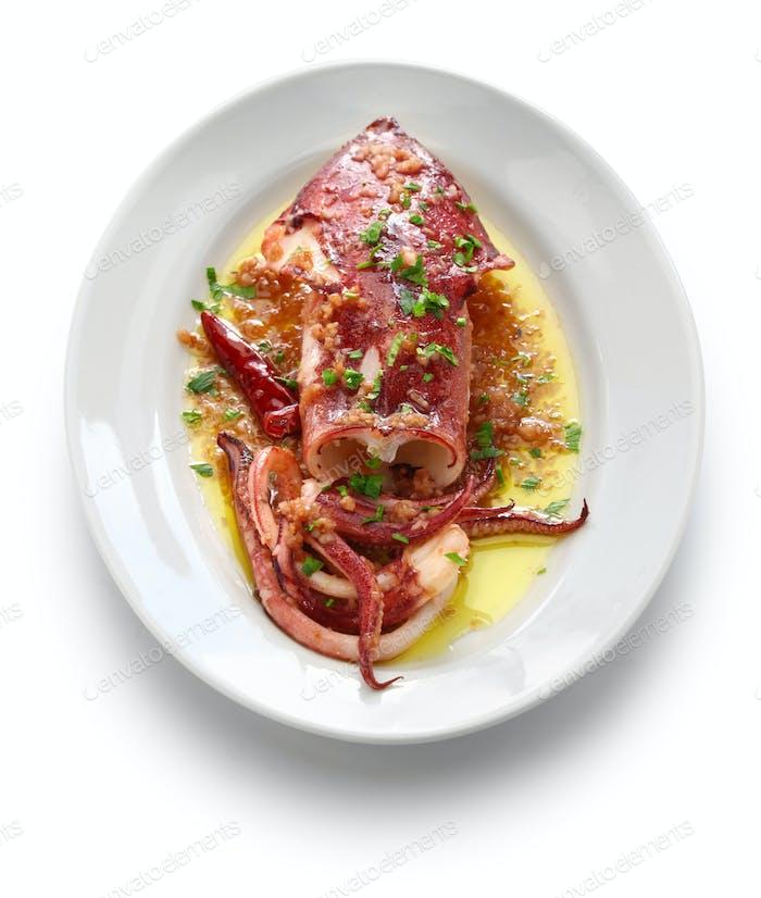 sauteed calamari with parsley and garlic, spanish tapas food,calamar a la plancha
