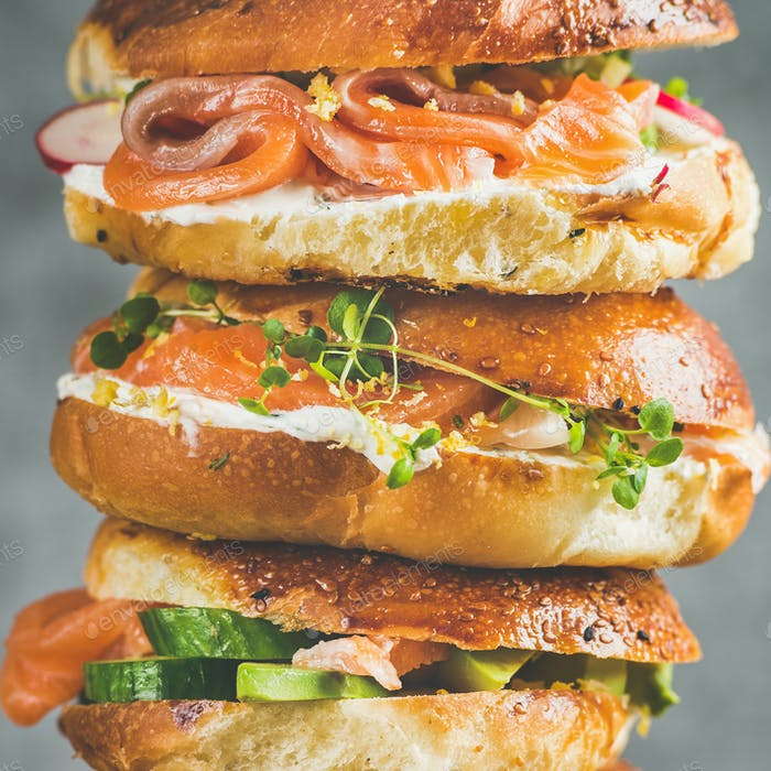 Close-up of Bagels with salmon, eggs, vegetables, capers, cream-cheese, herbs