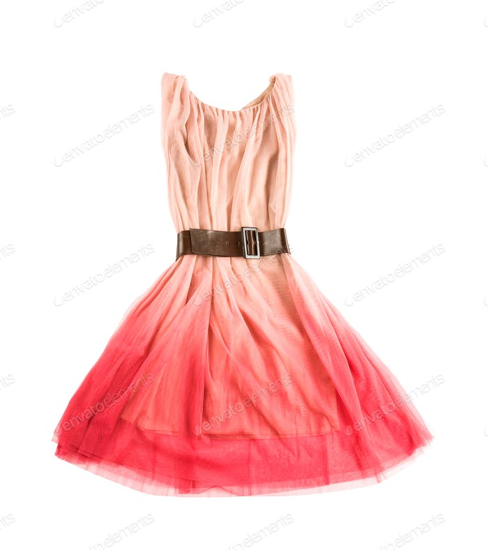 Thumbnail for Pink tulle tie dye evase tank dress with wide leather belt