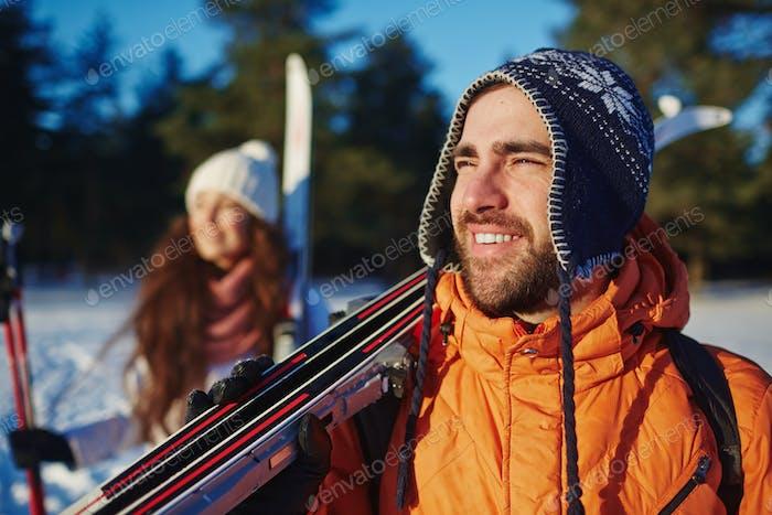 Skiers at resort