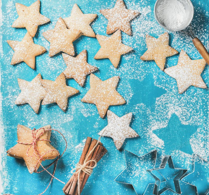 Sweet gingerbread cookies with sugar powder and cinnamon sticks