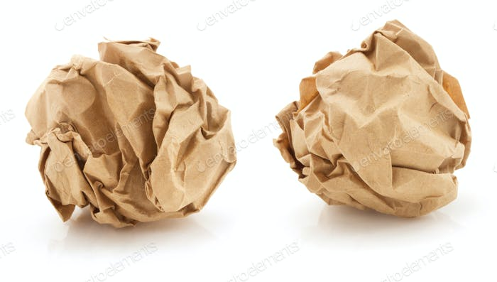 crumpled paper ball on white