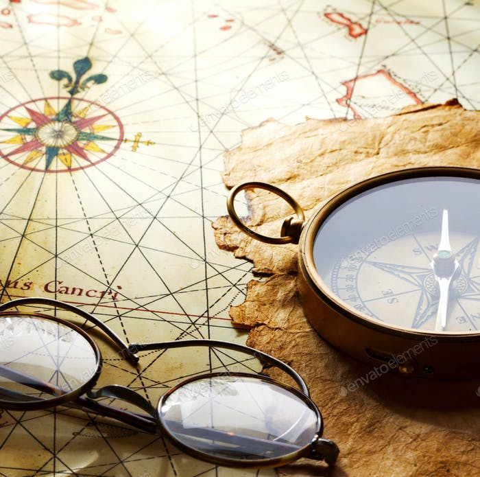 compass and glasses