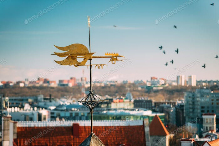 Tallinn, Estonia, Europe. Close Up Of Cock-rope Weather Vane On
