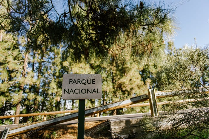 National park sign in forest