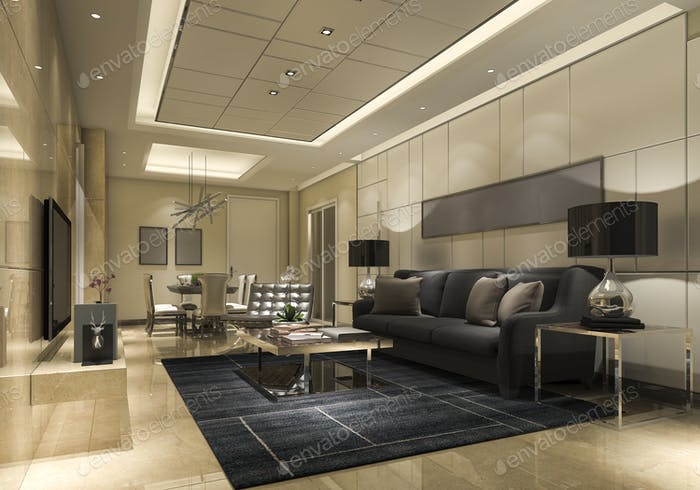 3d rendering luxury and modern living room with golden wall and reflect tile