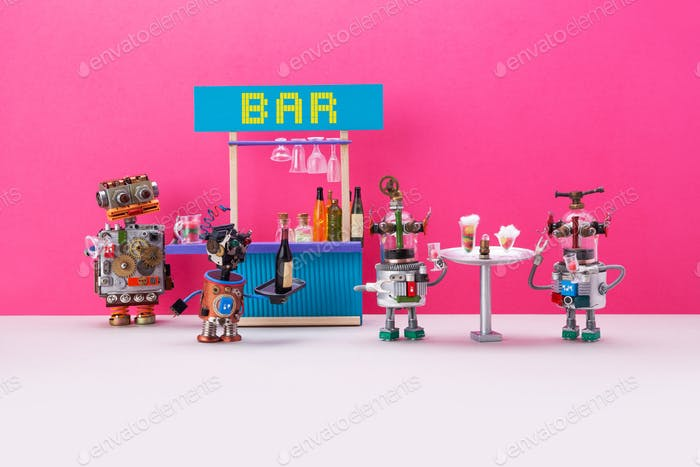 Robotics party. A small cyborg waiter carries an order