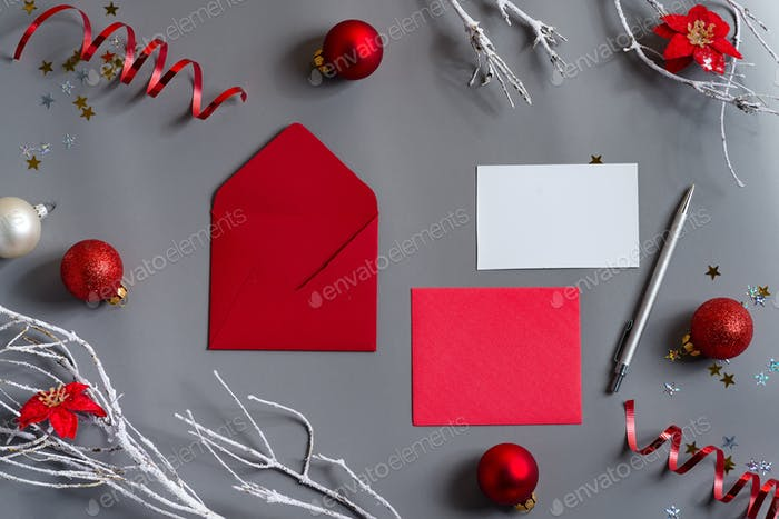 New Year card with letters and red holiday decoration
