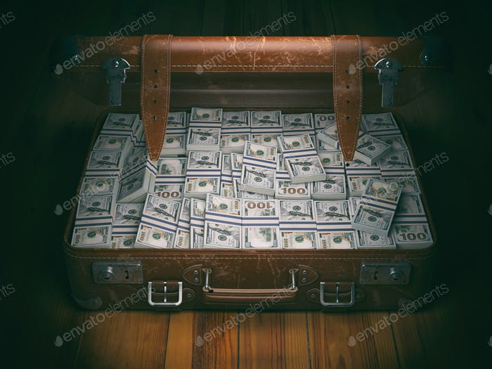 Vintage suitcase full of money. Business emigration concept back