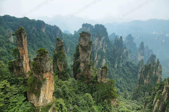 Impressive sandstone pillars in Tianzi area