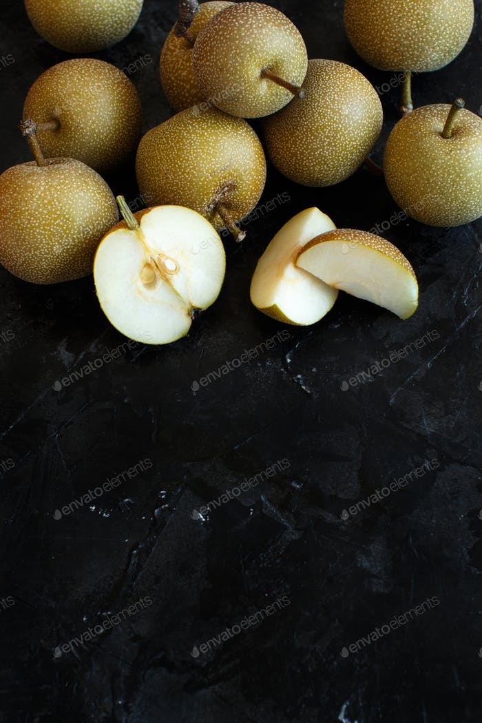 Nashi Pears on wood