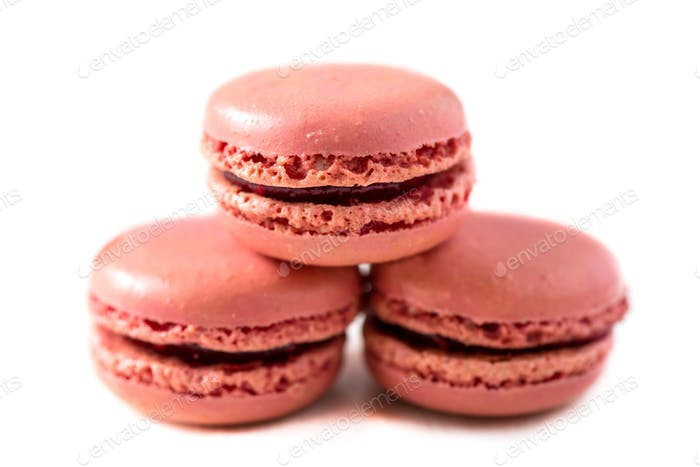 Raspberry Macaroons on Light Background