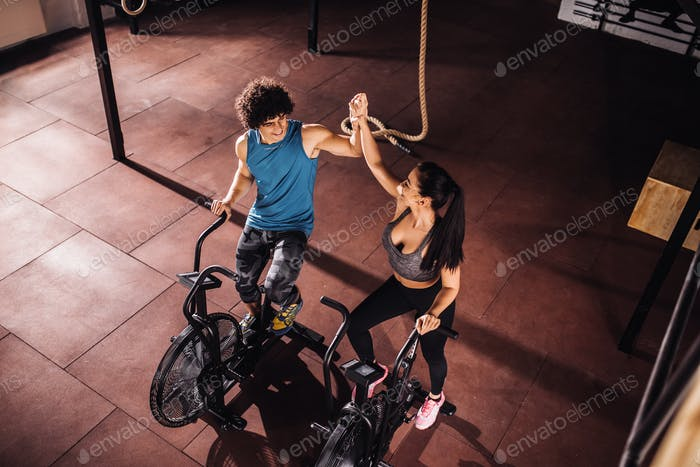 Exercising on a bike