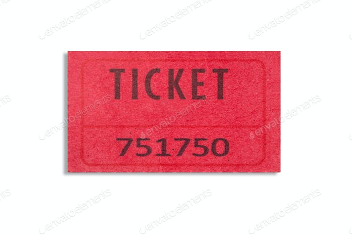 Red color ticket isolated