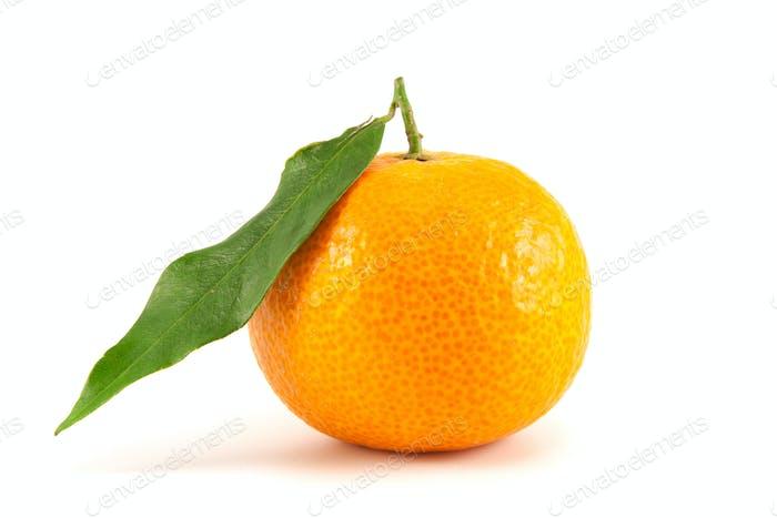 Orange mandarin with leaf