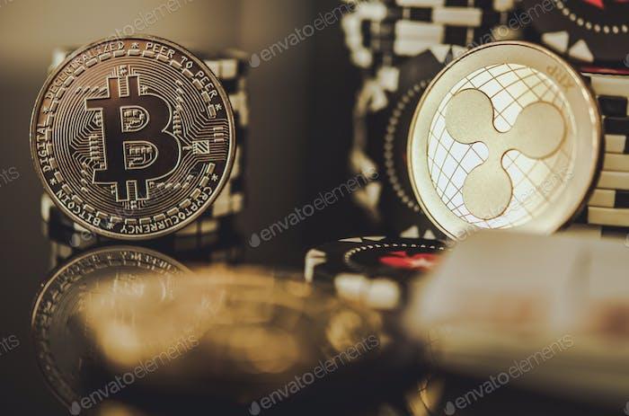 Monedas de oro BTC Bitcoin y XRP ondulación