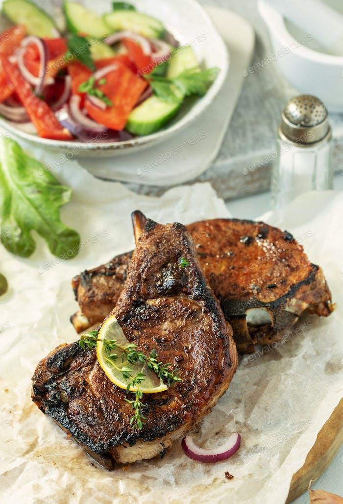 Pork steaks on bone