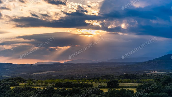 Scenic Landscape with Dramatic Sky
