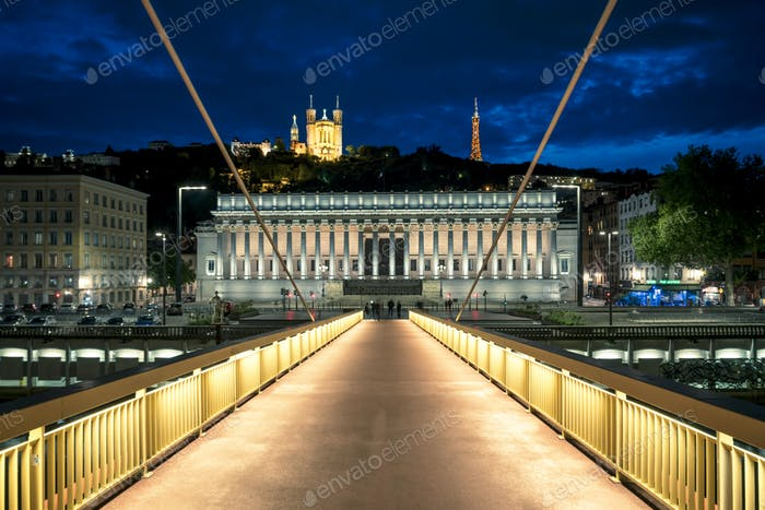 Night view of Lyon from footbridge