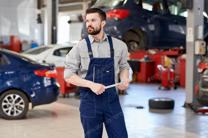 Bearded Mechanic Working in Car Service
