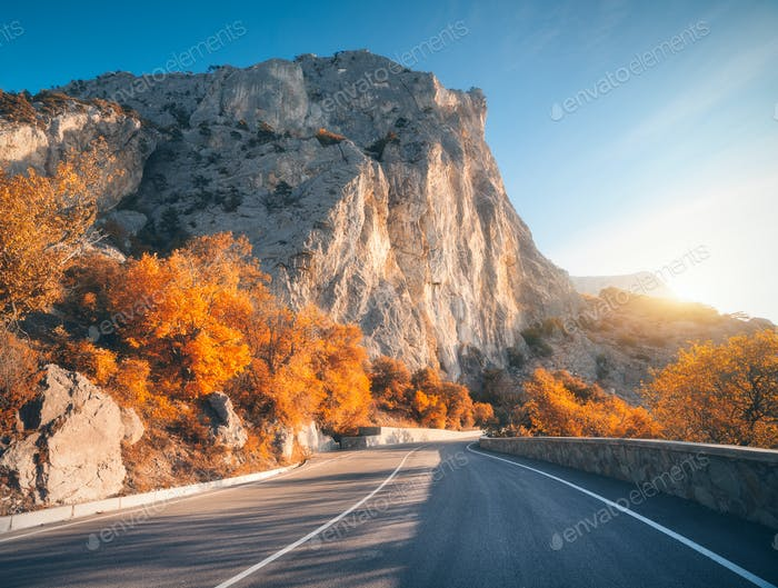 Landscape with beautiful empty mountain road