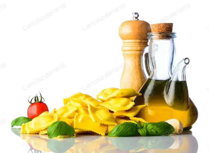 Italian Cuisine Food Ravioli on White Backrgound