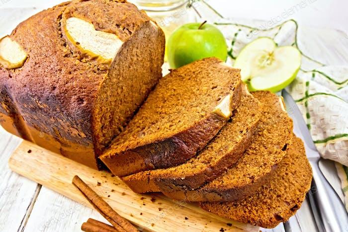 Bread apple on light board