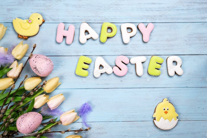 Happy Easter colorful lettering Happy Easter of ginger biscuits and cookies bunny