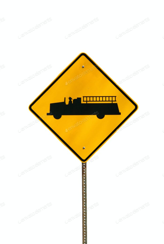 Isolated fire truck sign